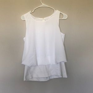 Cabi white tank with stretchy bottom layer